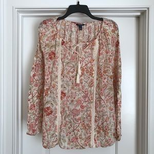 Chaps Ling-Sleeve Floral Top: Size Large
